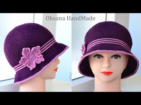 Женская шляпа крючком. Мастер класс и схема. Women's Crochet Hat