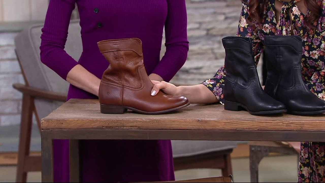b8e8a0ca099 Frye Leather Pull On Ankle Boots - Cara Roper Short on QVC