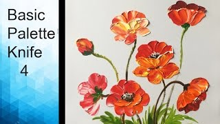 Paint Poppies flowers with Acrylic Paints and a Palette Knife - Basic Acrylic Techniques - Episode 4