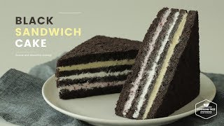블랙 초코 샌드위치 케이크 만들기 : Black Chocolate Sandwich Cake Recipe : サンドイッチ ケーキ | Cooking tree