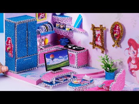DIY Miniature Dollhouse ~ Ariel Room Decor ,Kitchen And Living Room #73