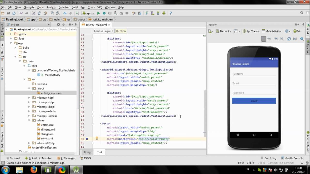 develop simple sign up screen in android studio youtube