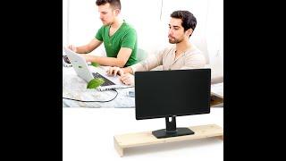 원목 삼나무모니터받침대 컴퓨터 PC선반 거치대 대형 레…