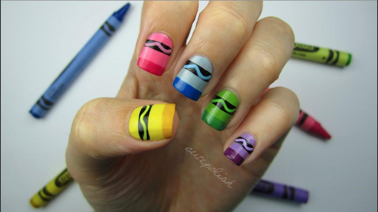 Crayon nail art youtube prinsesfo Gallery