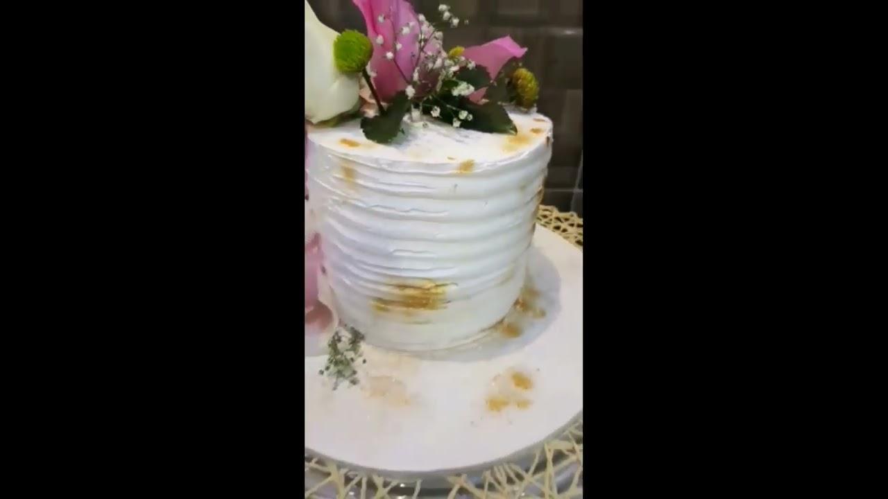 كيكة كريما مزينة بالورد || Best Flower Cream Cake