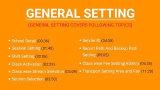 General Setting in Vidya the School Management Software