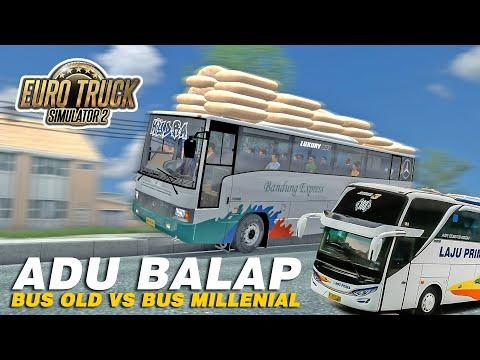 Aksi Kejar-Kejaran Bus Tua Vs Bus Muda - Bandung Express Vs Laju Prima - ETS2 Mod Indonesia - 동영상