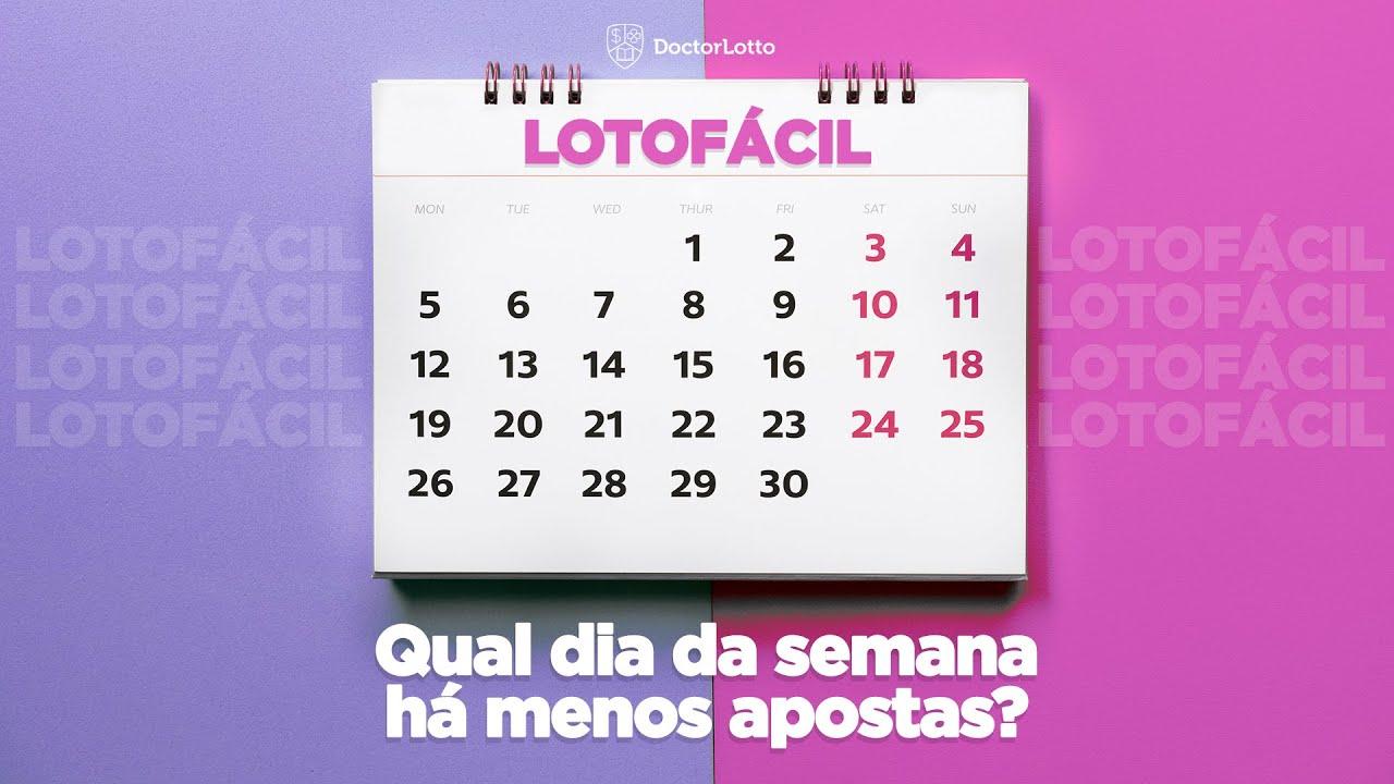 Lotofácil: qual dia da semana há menos apostas?