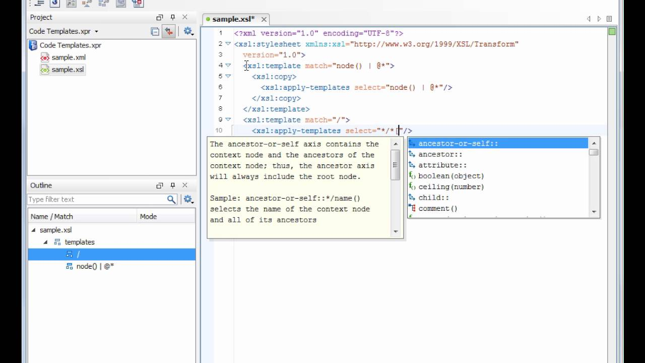 Code Templates in Oxygen XML Editor 13.1 - YouTube
