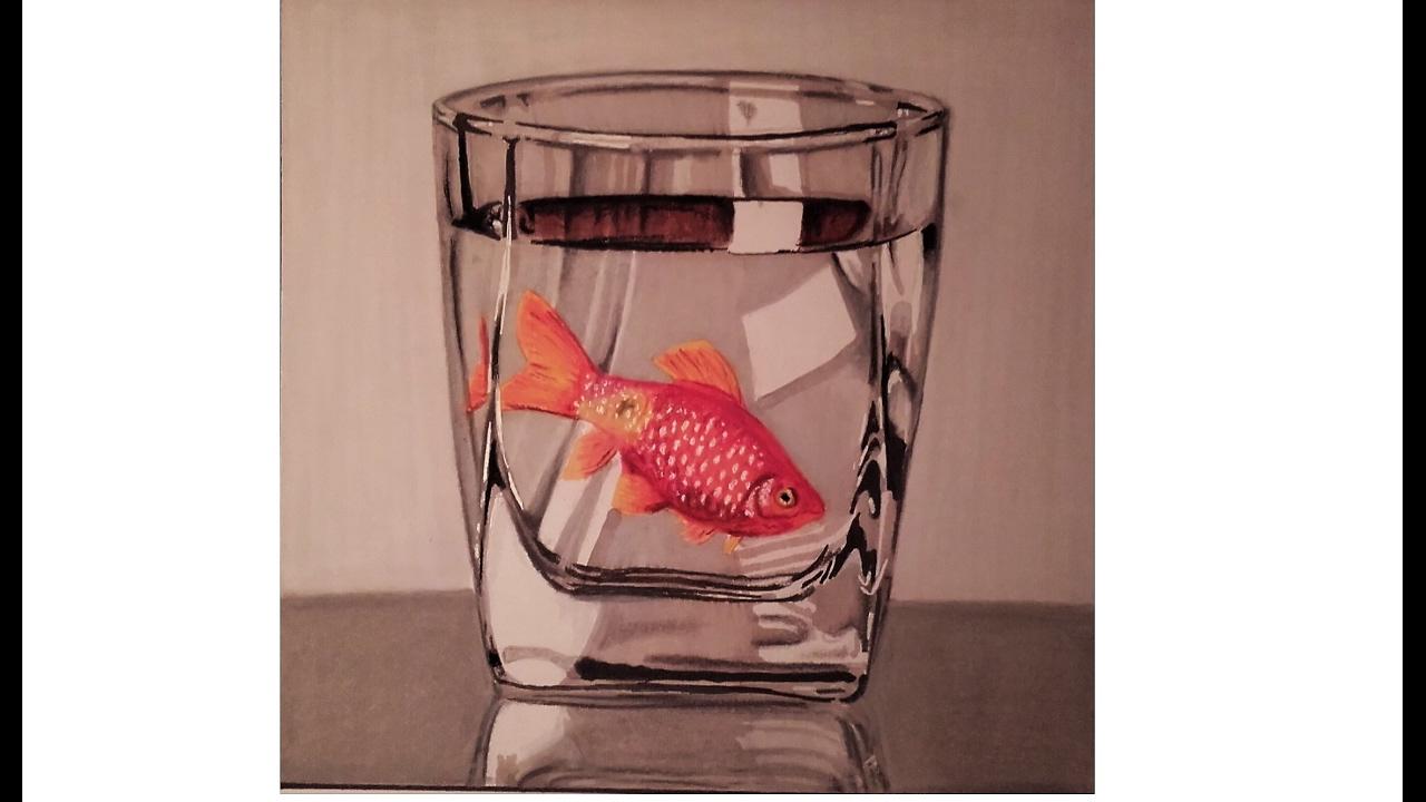 Dessiner un poisson rouge dans un verre r aliste speed - Dessine un poisson ...