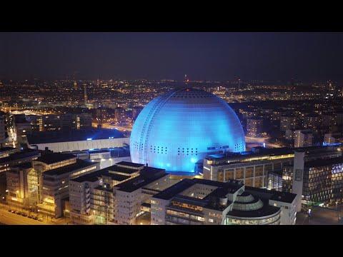 2551. Globen (Stockholm Globe Arena) Drone Stock Footage Video