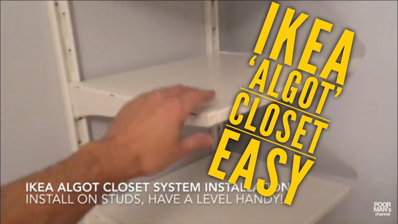 ikea algot closet system installation youtube. Black Bedroom Furniture Sets. Home Design Ideas