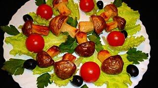 Грибы из картофеля! Mushrooms of potatoes! Украшения из овощей! Decoration of vegetables!