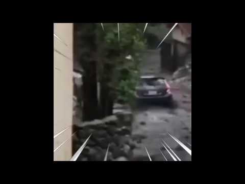 Prius slides down hill propelled by California mudslide while playing GAS! GAS! GAS!