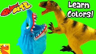 SHARK BITE Game with Dinosaurs! LEARN Colors and Dinos with GoGo Dino