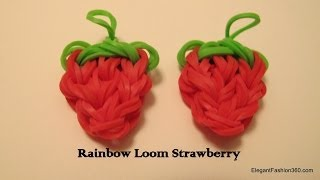 Repeat youtube video How to make Loom Bands Strawberry charm on rainbow loom