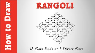 How to Draw Rangoli : 15 Dots Ends at 1 Direct Dots
