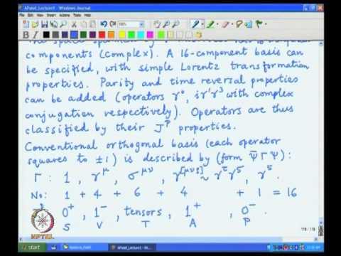 Mod-02 Lec-25 Lorentz group classification of Dirac operators, Orthogonality