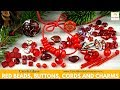 RED Christmas Czech Glass Beads, Buttons, Cords and Charms