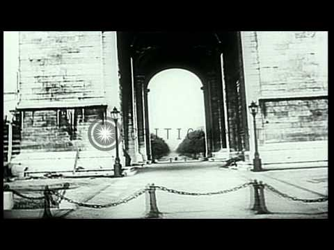 Hitler visits Arc de Triomphe and other Paris, France sites with Albert Speer. HD Stock Footage