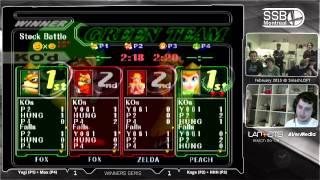 Kage + HHH (Red) vs Yogi + Max (Green) - SSBM Doubles Winners Semis - The SmashLoft