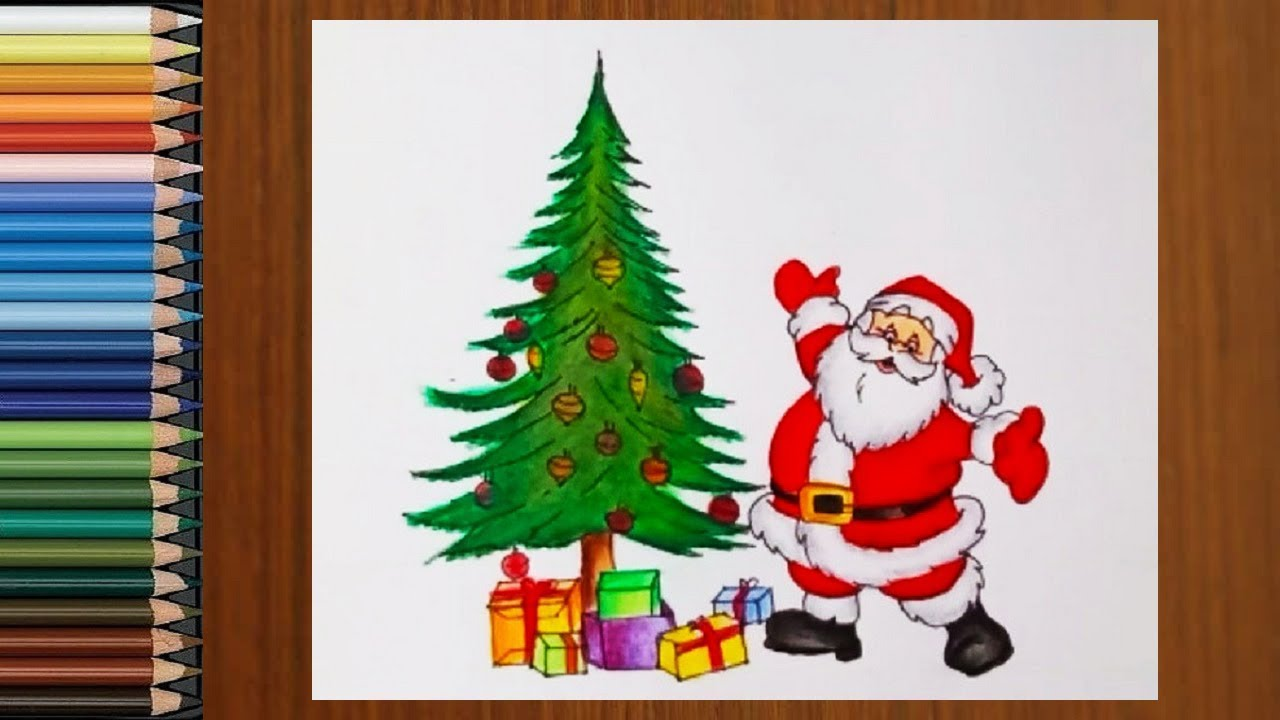 Christmas Drawings How To Draw A Christmas Tree With Santa Claus Santa Claus Drawing Youtube
