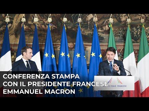 Vertice intergovernativo italo-francese, la conferenza stampa Conte-Macron