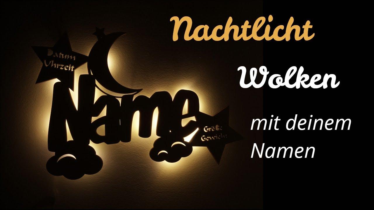 Wolkenmondi Led Lampe Aus Holz Mit Namen Und Geburtsdaten