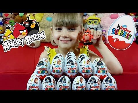 Angry Birds! Новинка!!! Открываем 36 Киндеров с Энгри Бердз. Kinder Surprise Angry Birds
