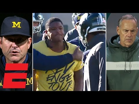Jim Harbaugh, Mark Dantonio don't see eye to eye on Michigan, Michigan State pregame scuffle