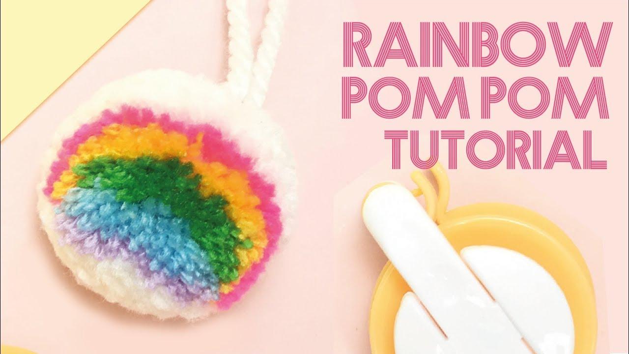 Diy สอนทำปอมปอมสายร ง Rainbow Pom Pom Tutorial แจกฟร อ ปกรณ ทำท ายคล ปค ะ Youtube ไอเด ยงานฝ ม อ