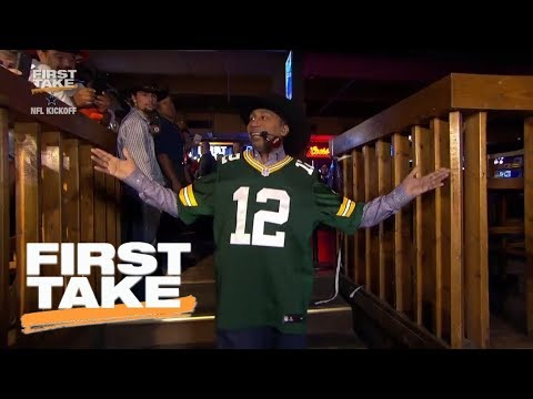 separation shoes 2f832 65eb6 Stephen A. Smith dramatically comes into Dallas wearing Aaron Rodgers  jersey | First Take | ESPN