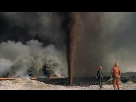 2 guys set oilwell on fire