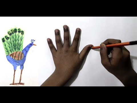 How To Draw A Peacock With Palm | Easy Way To Draw A Peacock With Palm