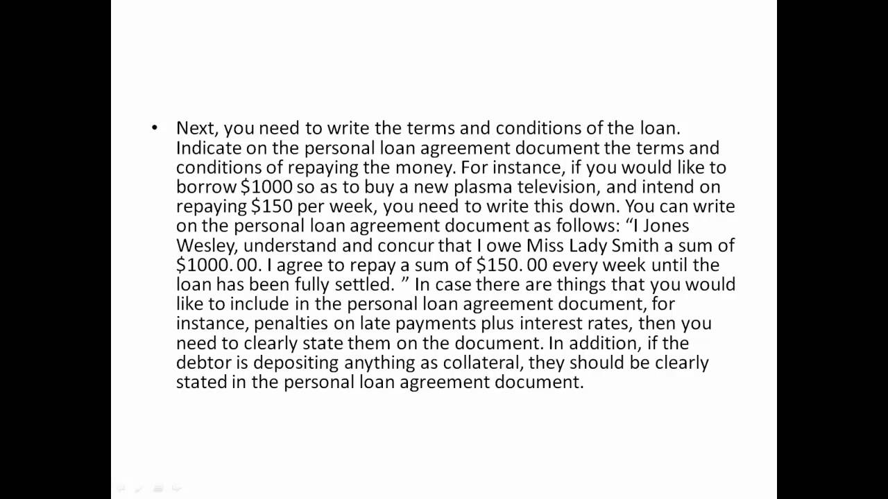 Personal Loan Agreement   YouTube  Consumer Loan Agreement
