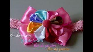 Laço com flor de fita – DIY -Tie for children