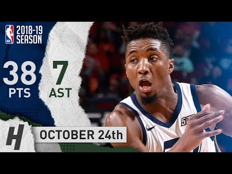 Donovan Mitchell NASTY Highlights Jazz vs Rockets 2018.10.24 - 38 Points, 7 Ast