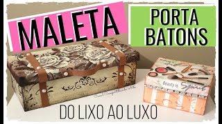MALETA DE MAQUIAGEM FEITA COM CAIXA DE SAPATO E PORTA BATONS DE PAPELÃO