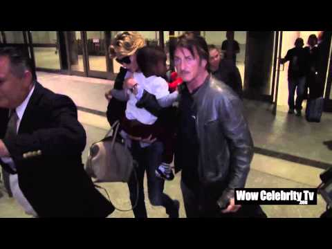 Charlize Theron, Sean Penn and Jackson Theron arrive back from London