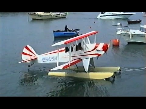 Vintage 1990 Footage of an Amelia Earhart commemorative flight into Burry Port.