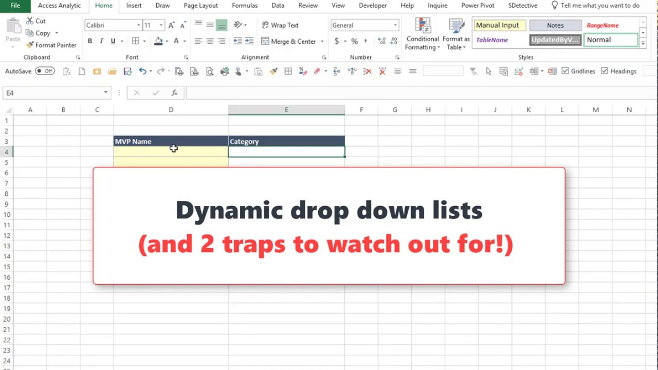Create a dynamic drop down list in Excel - Access Analytic