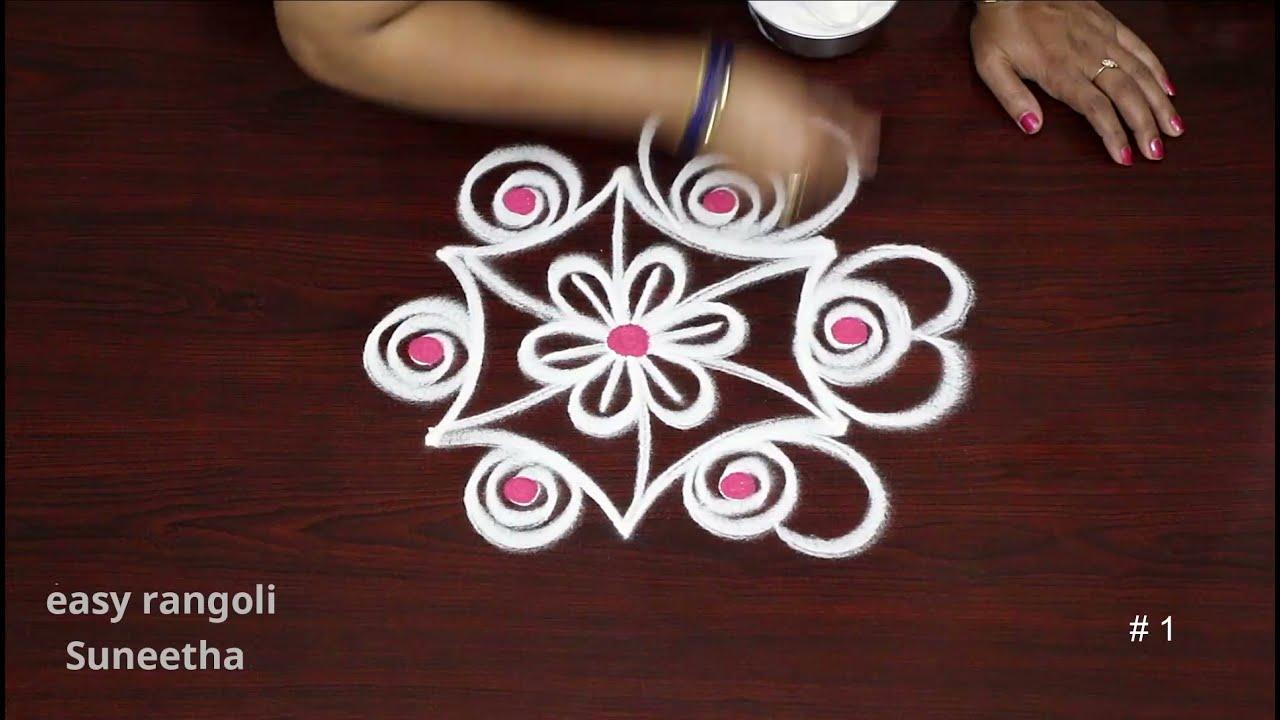 2 Daily rangoli Art designs || Easy & simple Doorstep rangoli || New Apartment muggulu with 3*2dots
