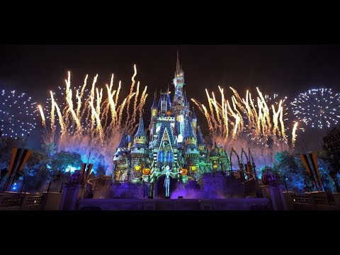 [4K] NEW - Disney's Not-So-Spooky Fireworks and Projection Show    2019 Not-So-Scary Halloween Party