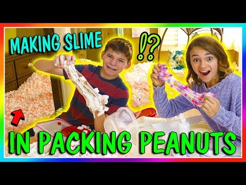 MAKING SLIME HIDDEN IN PACKING PEANUTS CHALLENGE  We Are The Davises