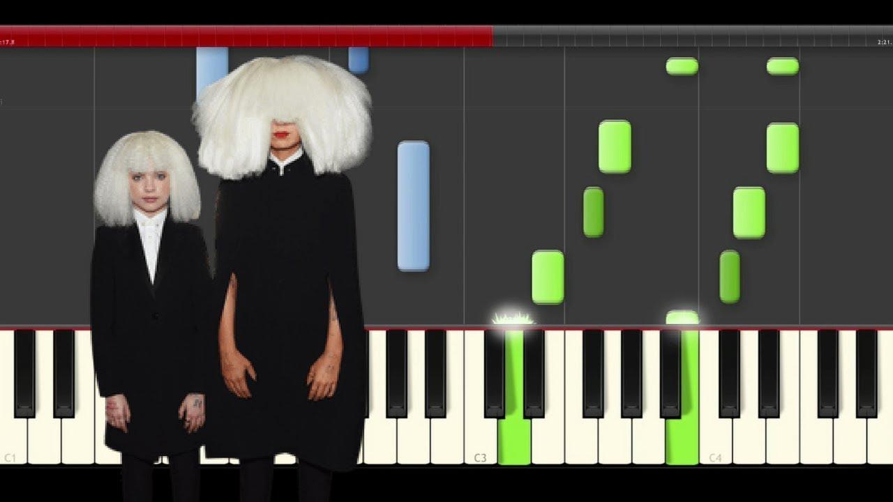 Sia Chandelier piano midi tutorial sheet partitura cover karaoke ...