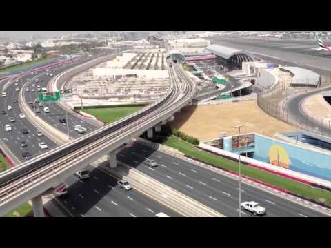 Dubai airport, metro and road view
