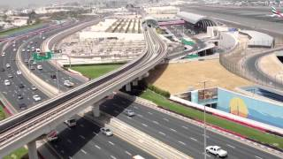Dubai airport, metro and road view