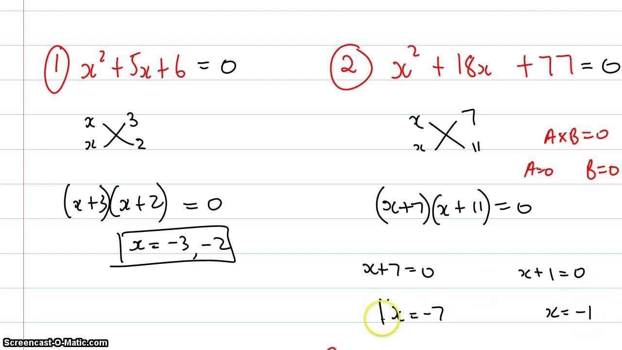How To Factorise Quadratic Equations Using Cross Method