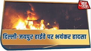 Massive Fire At Delhi Jaipur Highway As Two Chemical Tankers Hit A Truck