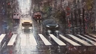Rainy day - street scene in watercolor